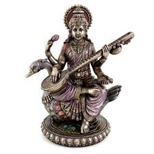 "SARASWATI WITH SWAN STATUE 8.5"" Hindu Goddess of Knowledge HIGH QUALITY NEW"