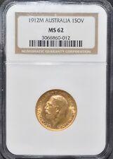 More details for 1912-m gold sovereign ngc ms62 australia melbourne mint