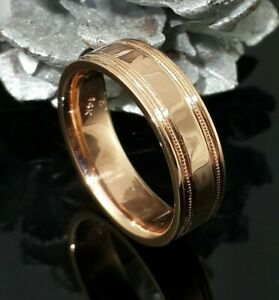 14k Rose Gold Plated 925 Sterling Silver Simple Plain Pinky Line Men's Band Ring