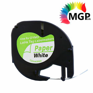 1x Compatible LetraTag Paper Tape for Dymo 91200 Black on White 12mm x 4m
