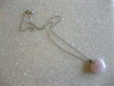 Pretty Puffy Rose Quartz Heart Pendant on Silver Tone Chain Necklace
