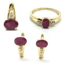 18K Natural Ruby Earrings Ring and Pendant Set