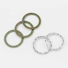 10Pcs Antique Silver/Bronze Hope Trust Love Dream Affirmation Circle Ring Charms