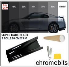 Tönungsfolie 75 x 6m Sonnenschutzfolie dunklen schwarz 5% Autofolie Fensterfolie