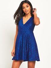 Lipsy London Women's UK 12 Cobolt Blue Deep V Lace Skater Dress (New With Tags)