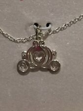 NEW DISNEY PRINCESS CINDERELLA CARRIAGE NECKLACE 18in STERLING SILVER $40