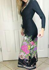 Vintage Lee Jordan New York Black Jumpsuit 70's Floral Wide Leg Front Zip Sz 4