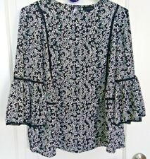 Who What Wear Women's Ruffle Sleeves Top, Floral White Black, size S