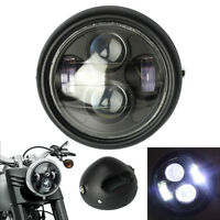 6.5'' 45W 4000LM Moto Noir Phare Projecteur LED Headlight Lamp Bobber Chopper