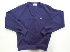 IZOD LACOSTE vintage 70s dark navy blue V-neck preppy tennis sweater MEDIUM