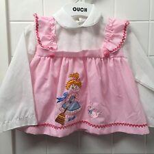 Girls Size 0-1 Vintage White & Pink Top Dress Girl Cat Pinafore EUC