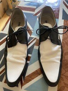Ikon Jam Black and White Leather Mod Shoes