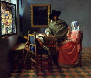 Johannes Vermeer The Glass of Wine Giclee Canvas Print Poster LARGE SIZE