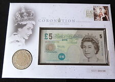 2003 UK £5 COIN + £5 BANKNOTE PNC SPECIAL CYPHER QC03 000198 QUEEN CORONATION