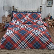 Tartan Single Brushed Cotton Duvet Cover Set Soft Check Pattern Red