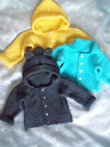 "Baby Boys Girls Hooded Jacket Ears Easy KNITTING PATTERN DK 16 - 26"" Cardigan"