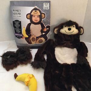 Monkey Around Halloween Costume w/ Banana Rattle Baby Infant Child Size 6-12 mo