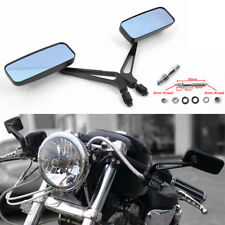 Black Rectangle Chopper Bobber Mirrors For Harley Softail Sportster XL 883 1200