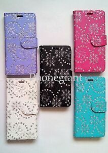 Bling Diamond Flip Leather Wallet Case Cover For Various Samsung Galaxy Phones