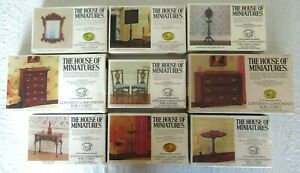 LOT DOLL HOUSE OF MINIATURES 9 COLONIAL FURNITURE KITS, FINE ANTIQUE REPLICAS