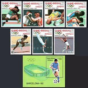 Guinée-bissau 849-855, 856 S/S, MNH Pre-olympic, Barcelona. Boxe, Football, 1989