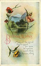 Antique DB Postcard K051 Birthday Wishes Lake Mountains Red Yellow Poppies Poppy