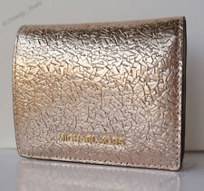 Michael Kors Jet Set Flap Card Holder Case Mini Wallet Rose Gold Pink NEW w/BOX