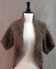 Chunky Mocha Knit Cardigan Short-Sleeved with Over-Sized Collar  One Size
