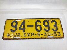 Antique Vintage Vehicle License Plate WEST VIRGINIA 1953 94-693