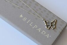"""Silpada Hammered Sterling Silver """"On the Fly"""" Butterfly Necklace N3233"""