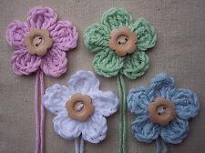 x4 Crochet Flowers w/WOODEN button PASTEL SHABBY CHIC mix Appliqué Embellishment