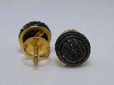 Mens/ Ladies round 3d black diamond yellow silver screw back Studs Earrings.