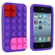 Purple Lego Silicone Skin Case Cover for iPhone 4 / 4S