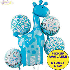 SWEET SAFARI ZOO BOY BABY SHOWER PARTY SUPPLIES 5pc ITS A BOY BALLOON BOUQUET
