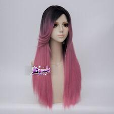 65CM Black Mixed Pink Straight Hair Lolita Women Harajuku Ombre  Cosplay Wig