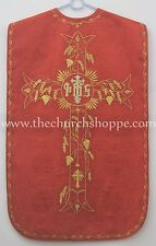 NEW RED Roman Chasuble Fiddleback Set Vestment 5pcs mass set IHS embroidery
