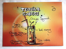 RetroTequila Sunrise cocktail recipe  A5 metal sign house gift idea vintage