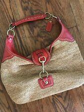 COACH F13374 Red Orange Leather Straw Hobo Shoulder Buckle Flap Tote Bag Handbag