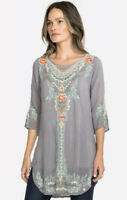 Johnny Was Olive Blossom Tunic Embroidered Floral Top Womens Size Large $248