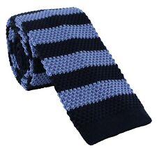 Navy & Blue Block Stripe Skinny Silk Knitted Tie