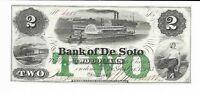Nebraska Bank of Desoto 1863 CU $2 River Boat Green TWO Choice Uncirc #4080
