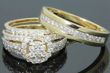 10K YELLOW GOLD 1.75 CT MEN WOMEN DIAMOND TRIO ENGAGEMENT WEDDING RING BAND SET