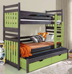SAMBOR - SOLID TRIPLE BUNK BED WITH DRAWERS, GRAPHITE/ GREEN, FAST DELIVERY