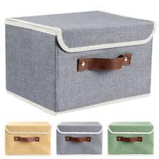 2/6/12Pc Linen Fabric Cube Storage Bins Boxes Foldable Home Organizer Baskets