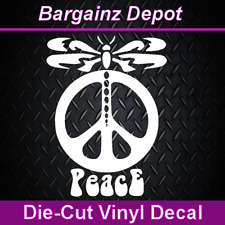 ..Vinyl Decal .. DRAGONFLY PEACE SIGN ..  Awesome Car Laptop Vinyl Sticker Decal
