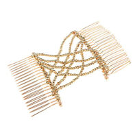 Beads Hair Combs Double Hair Clips Stretchy Women Hair Accessories Gold