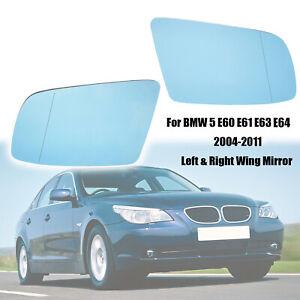 Right&Left Side Wing Mirror Heated For BMW E60 E61 E63 E64 Blue Glass Anti Glare