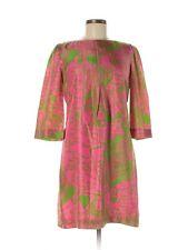Women Lilly Pulitzer Queen of Hearts Love Green Pink Silk Shift Dress Size 6
