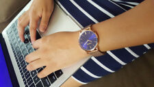 Noblag Flame luxury women's Watch rose gold stainless steel mesh bracelet-Blue