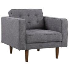 Armen Living Element Modern Chair, Dark Gray Linen/Walnut - LCEL1DG
